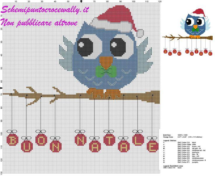 schema punto croce natalizio gufo con papillon e scritta buon natale