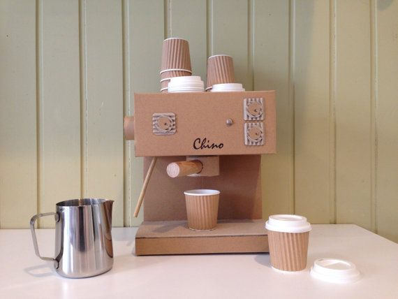 Handmade Toy Cappuccino Machine made out of Cardboard with 8 Baby Chino Cups with Lids and a metal Froth Jug.  ~ Handmade ~ Froth nob and