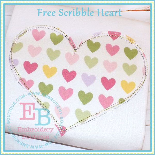 Scribble Heart Applique - Freebie on Embroidery Boutique..plus others