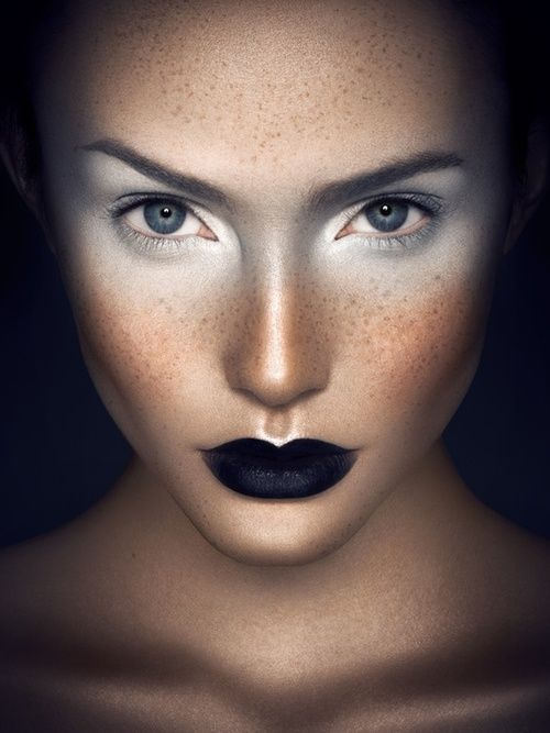 Woah!! This black lip creation looks fab with white ice eyeshadow & hand-drawn #freckles. #makeup