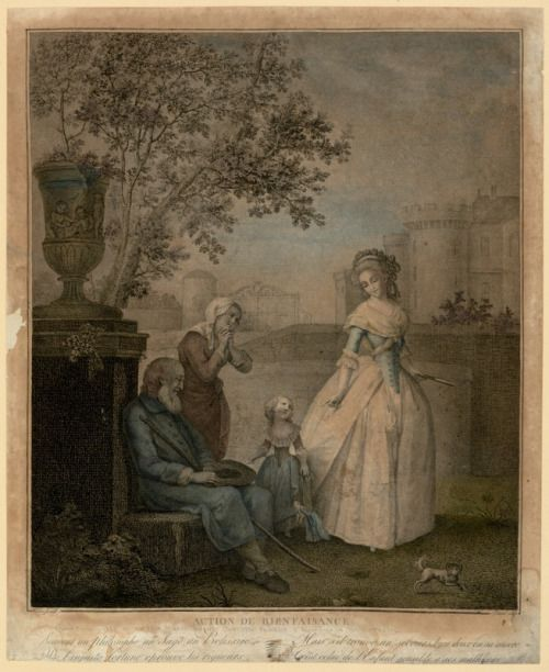 Marie-Antoinette and Madame Royale give alms to the blind as part of the King and Queen's Maison Philanthropique, a society they founded in 1780 which exists to this day (late 18th century French print)