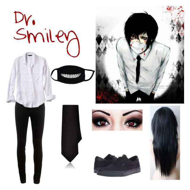 """""""Dr. Smiley Creepypasta Girl Outfit"""" by marcykxx ❤ liked on Polyvore featuring rag & bone, Vans, Banana Republic and Barneys New York"""