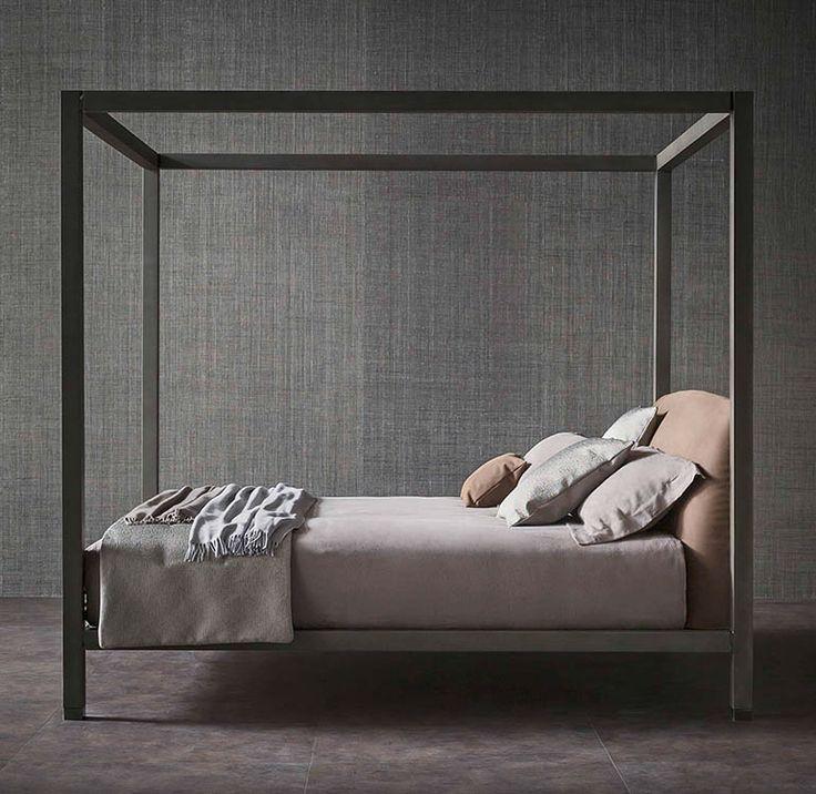 """The canopy bed always inspires romance; however, the clean lines of bed Ari exude its clearly contemporary core // Il letto a baldacchino ispira romantiche suggestioni, ma Ari, nell'asciutto rigore delle linee, denota la sua matrice [""""Ari"""" letto - bed -  design Emanuela Garbin - Mario Dell'Orto - #Flou""""] #Beds #Bedroom #Letto #InteriorDesign #HomeDecor #Arredamento #Furnishings"""