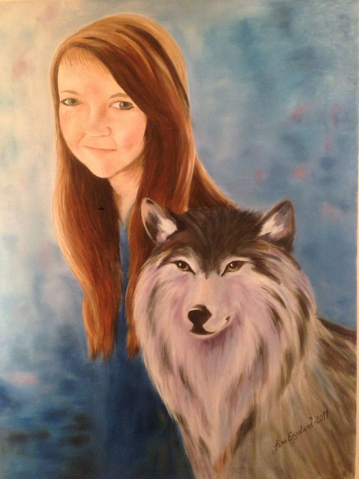 The girl and her dreamwolf. Painted by Aina Engeland.