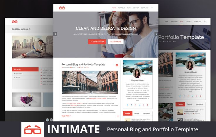 Intimate is Free creative, customizable, clean, flexible and Best Personal Blog and Portfolio Bootstrap HTML5 Template with Delicate design and Distinctive Typography.
