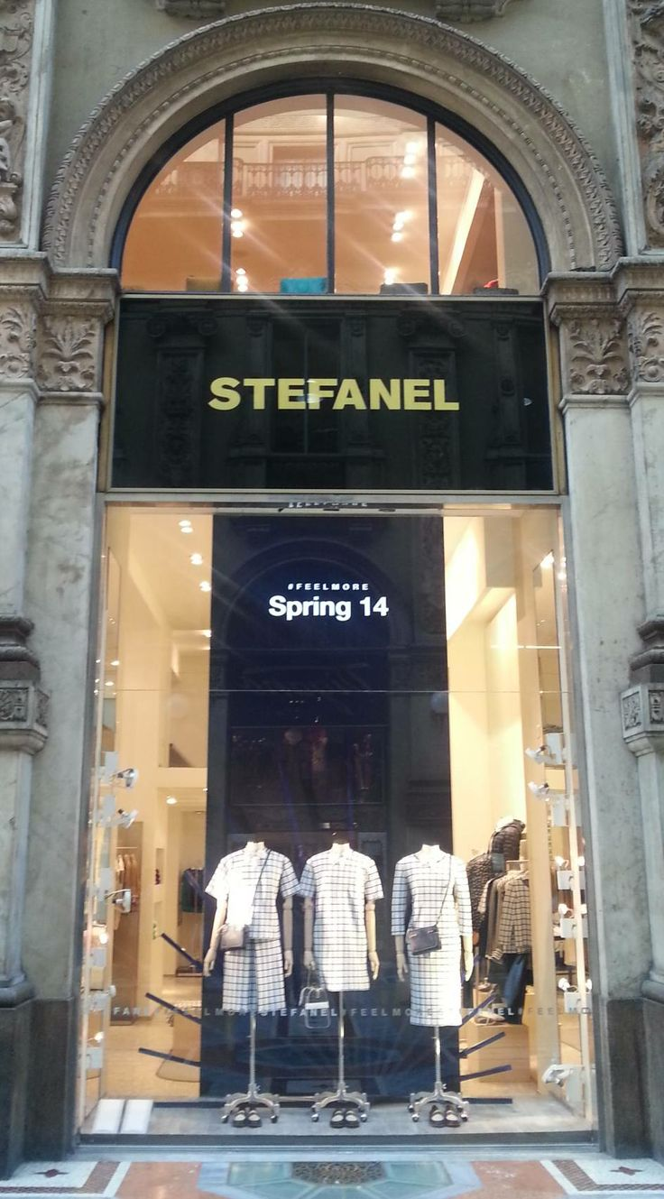 @Stefanel Official's hashtag #FeelMore in a shopping window. #socialandthecity