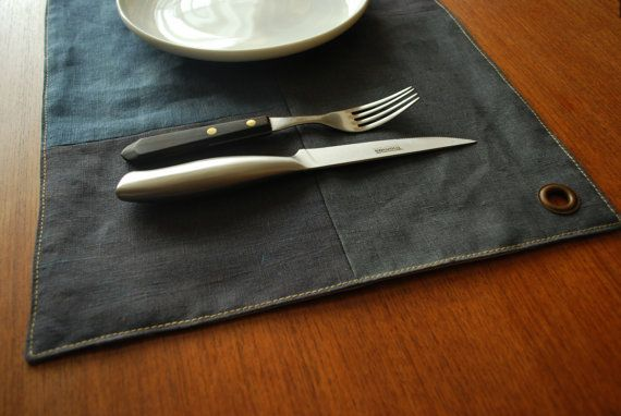Industrial Style set of 4 Linen Placemats-Gray Minimalist Table Placemats-Serving-Gift Ideas-Gift for him on Etsy, $40.00