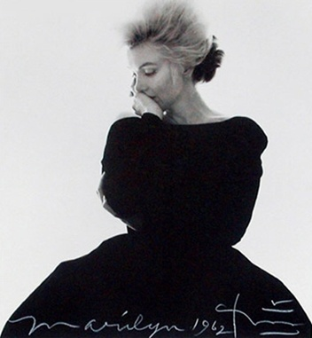 Bert Stern:   Marilyn Monroe in The Famous Black Dress for the Cover Tribute in Vogue (from The Last Sitting) apparently the hairdresser was giving her vodka dressed as iced water Sadly  she was dead the week it went to print!