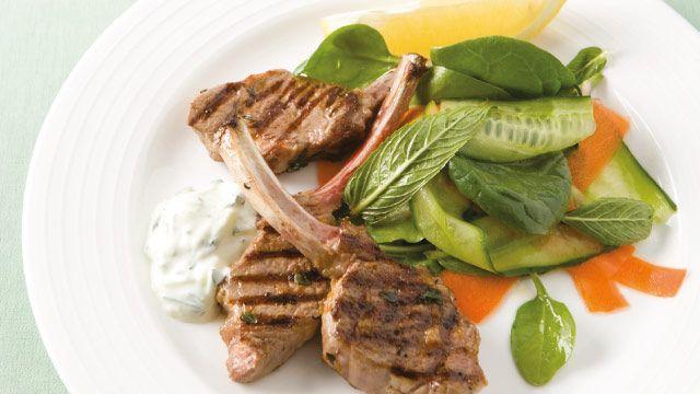 Lemon & Thyme Lamb Cutlets with Tzatziki Cucumber Salad