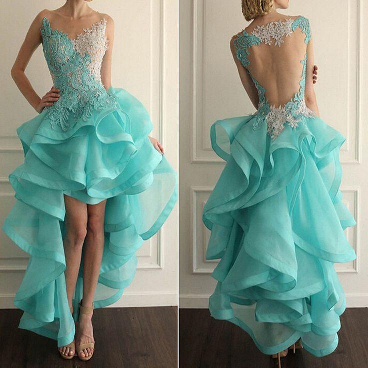 High Low Ruffle Prom Dresses,Organza Hi Lo Dress ,Long Homecoming Dresses 2016 Custom Fit Prom Dresses