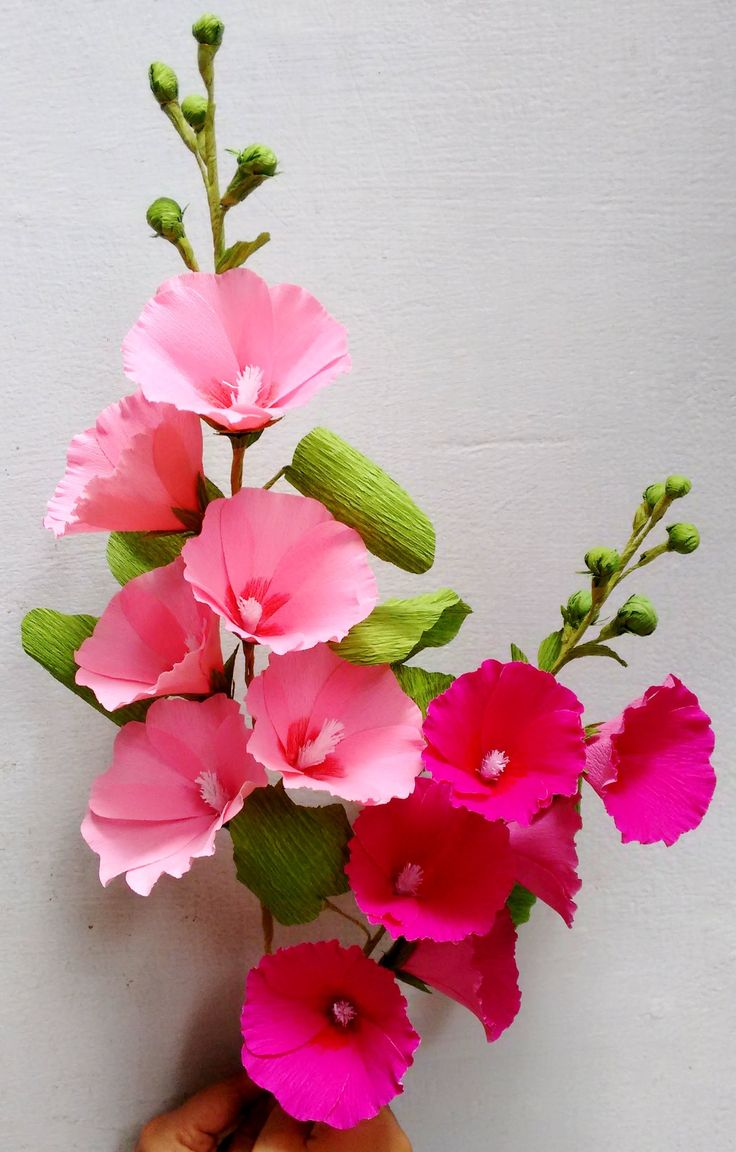 FLORES DE PAPEL MALVAS.- Paper Flowers - Hollyhock / Mallows