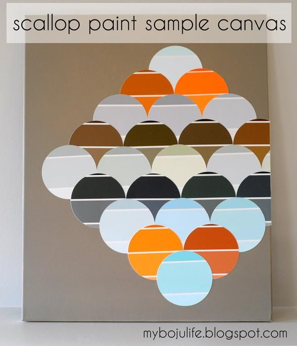 DIY scallop paint sample canvas wall art DIY Wall Art DIY Crafts DIY Home
