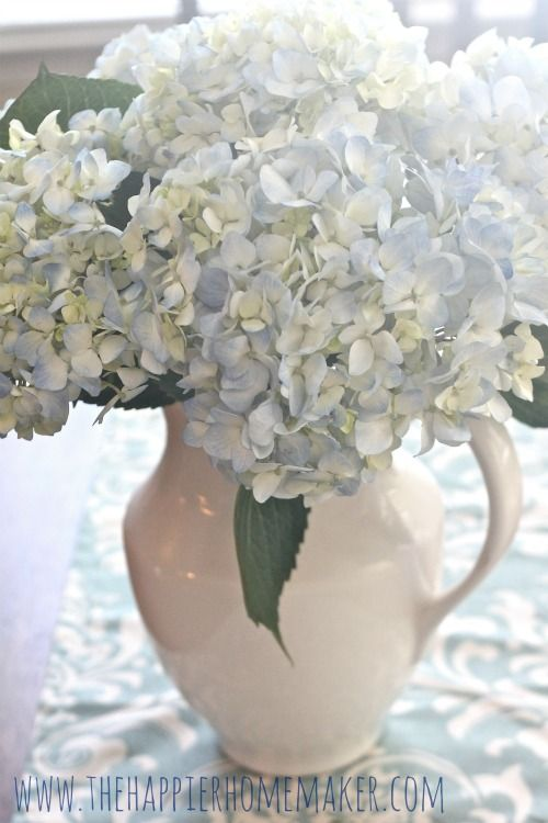 the secret to long lasting cut hydrangeas is.............cut stem, dip 1/2 inch of stem into alum and then arrange the flowers! So easy!