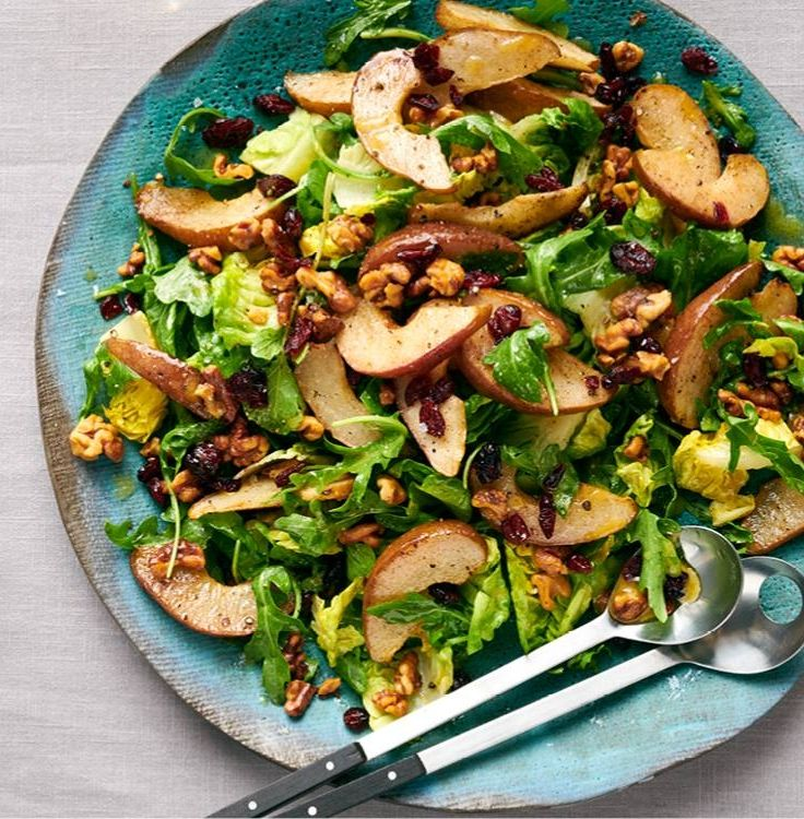 Salad With Roasted Pears And Dried Cranberries Savory Recipe In 2020 Roasted Pear Autumn Salad Recipes Roasted Pear Salad