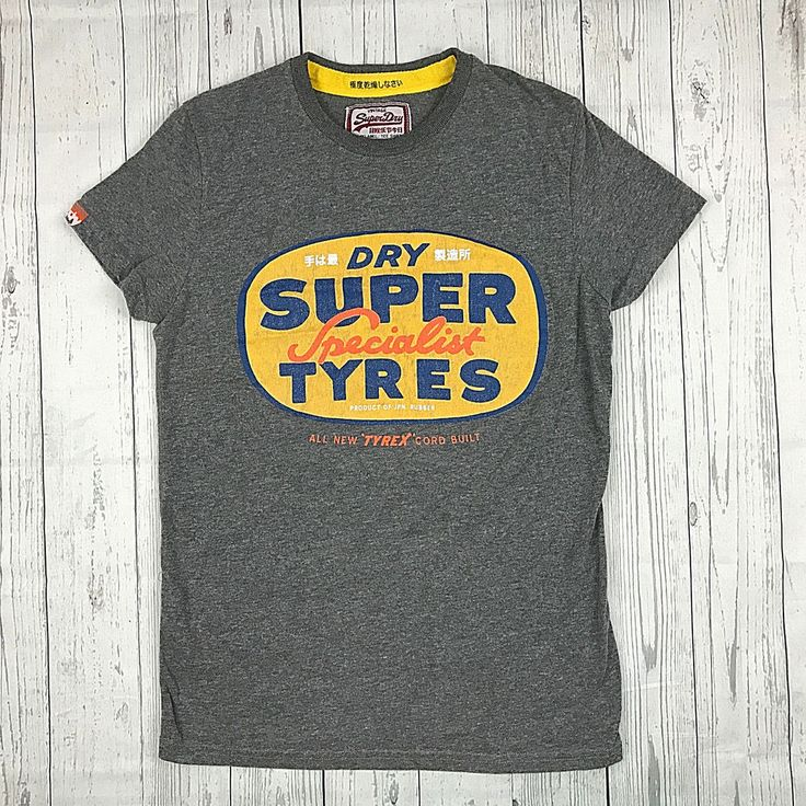 Superdry mens Small gray Super Tyres Specialist short sleeve graphic tee tshirt #Superdry #GraphicTee