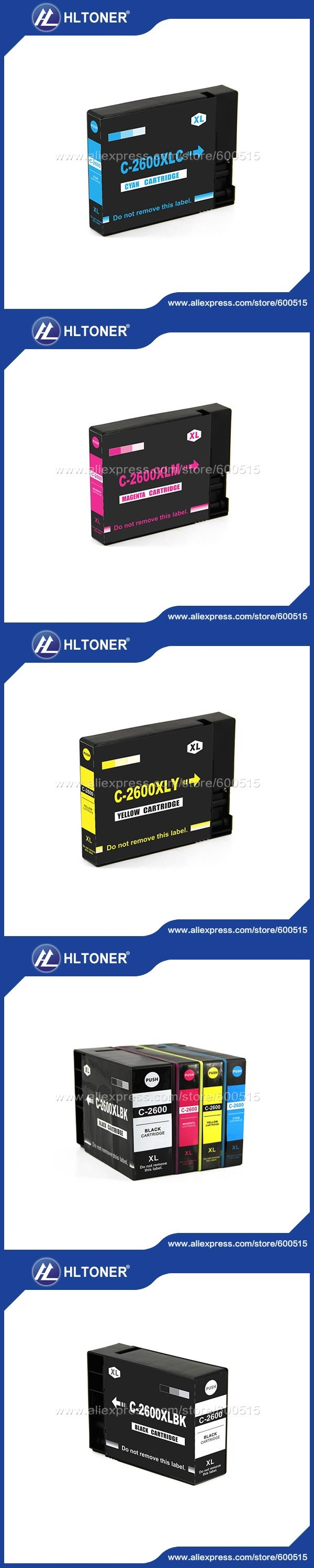 pigment ink 4pcs Compatible Canon ink cartridge PGI-2600XL PGI-2600  for MAXIFY IB4060 MB5060 MB5360     Full ink