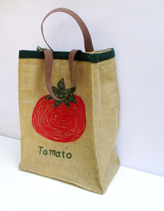 Tomato jute market tote one of a kindfarmers bag chic by Apopsis
