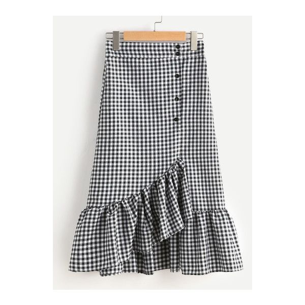 SheIn(sheinside) Gingham Layered Frill Hem Skirt (49 SAR) ❤ liked on Polyvore featuring skirts, a line maxi skirt, plaid skirt, black and white long skirt, long tiered ruffle skirt and tiered ruffle maxi skirt