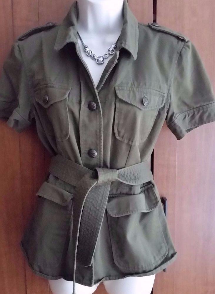 RALPH LAUREN Safari Military Style Short Sleeve Button Down Top Denim  Size M #RalphLaurenJeansCompany #Militarycoat #militaryjacket  #Safari #womanmilitary #militarycostume