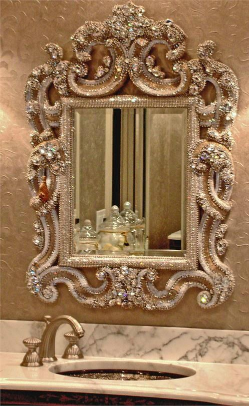 A Diamond Blinged Out Wall Mirror For The Bathroom Adds Such Glam