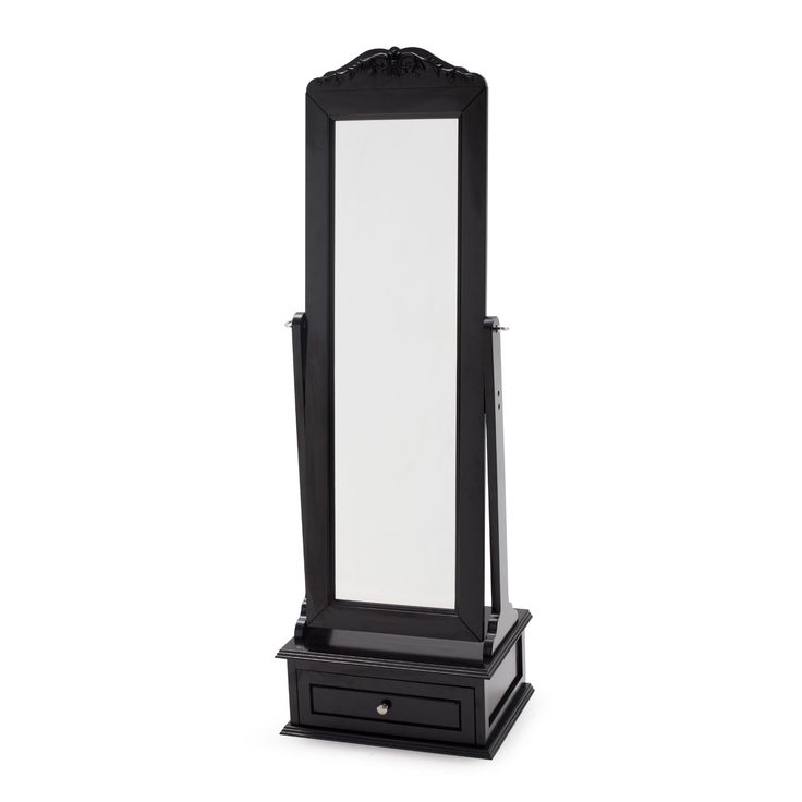 Belham Living Removable Decorative Top Cheval Mirror - Black - 21.5W x 60H in. - Mirrors at Hayneedle