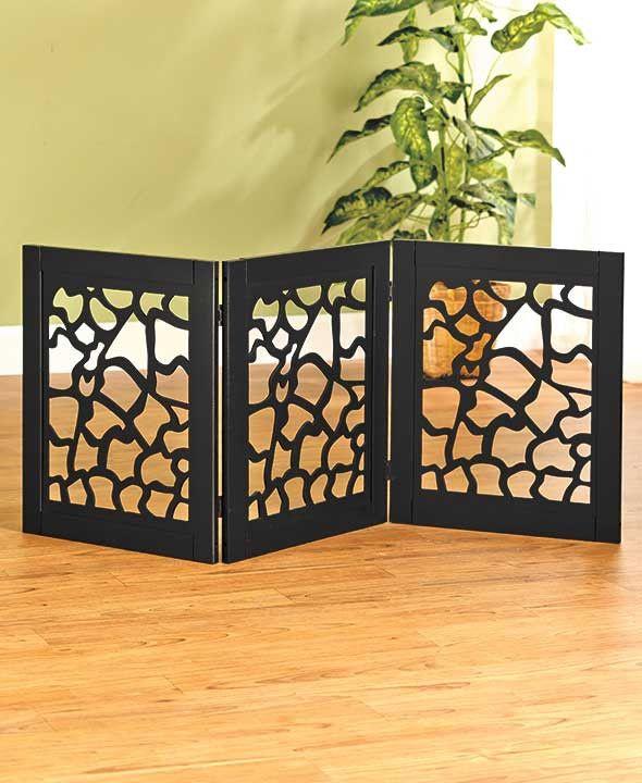 Pet Gate Adjustable Expandable Foldable Portable Wood Black Giraffe Or  Zebra Decor