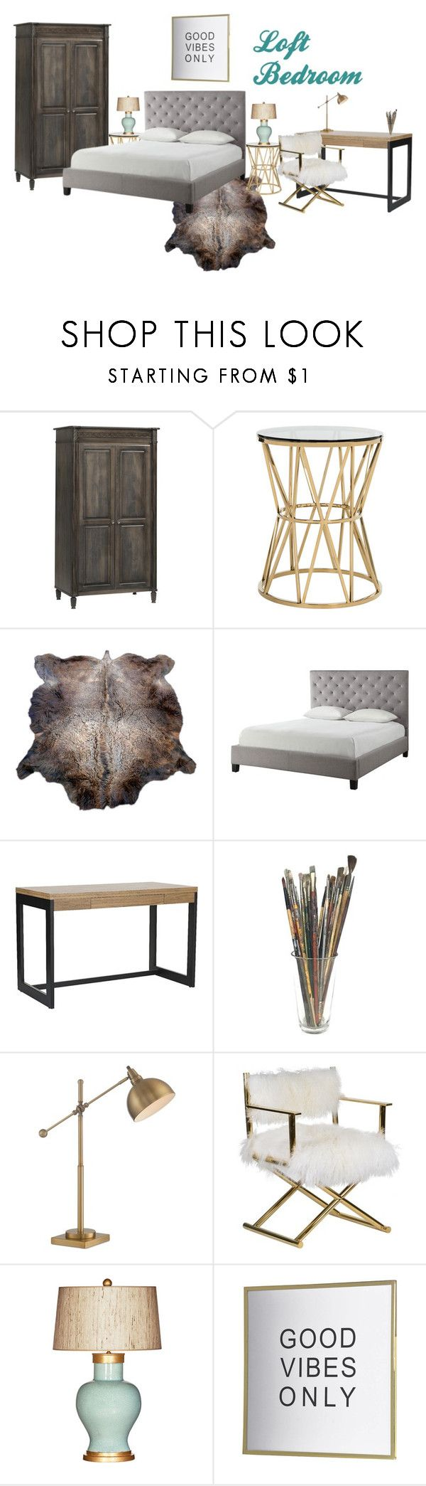 """Live-in Artists Loft Bedroom"" by masterofmurphy on Polyvore featuring interior, interiors, interior design, home, home decor, interior decorating, DutchCrafters, Safavieh, Tribecca Home and Lite Source"