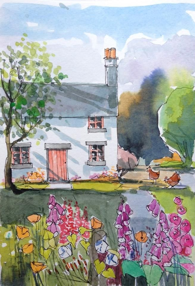 Orignal Watercolour Painting -Cottage Garden - by Annabel Burton