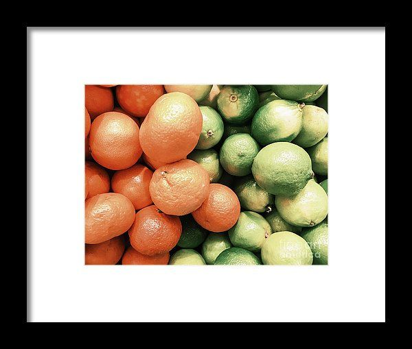 Lime And Tangerines Citrus Fruits In Fruit Market Framed Print