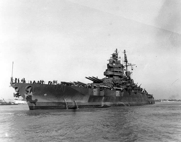 Battleship USS Mississippi (BB-41), in the Mississippi River en route to New Orleans, LA, 16 Oct 1945