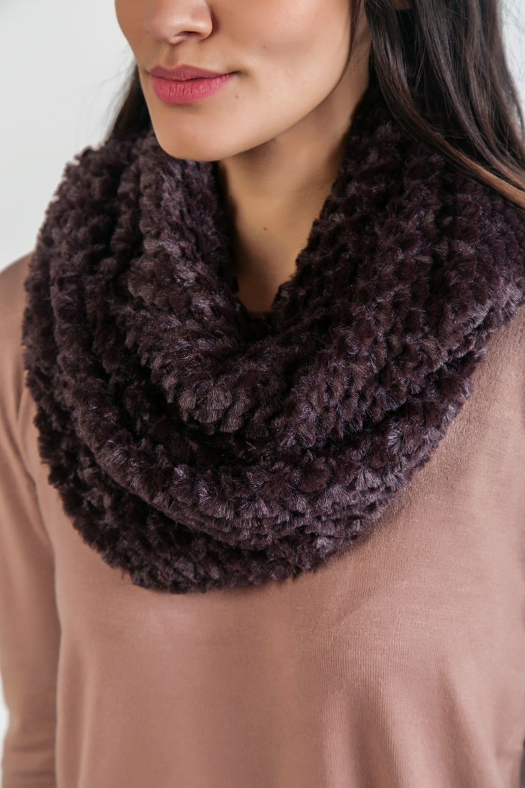 Brown soft furry snood. http://www.modaboom.com/accessories/scarves/brown-furry-snood/