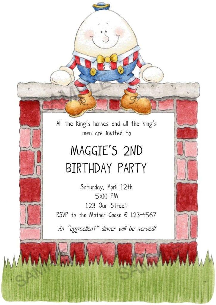 Mother Goose Fairy Tale Humpty Dumpty Birthday Invitation