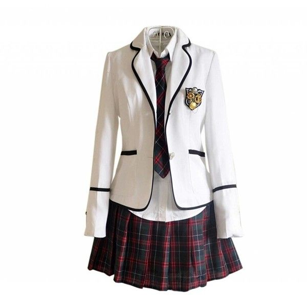 Lemail Wig New Autumn and Winter British School Uniforms Suit and... (£25) ❤ liked on Polyvore featuring dresses and white dress