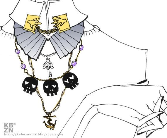 Ilustración del Collar ancla de la colección SEA en el blog de Kabezonita.   Preciosa ilustración!!!