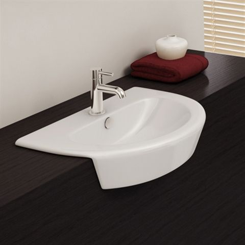 Curved Cruise semi recessed basin with one tap hole, ideal for a modern family bathroom.