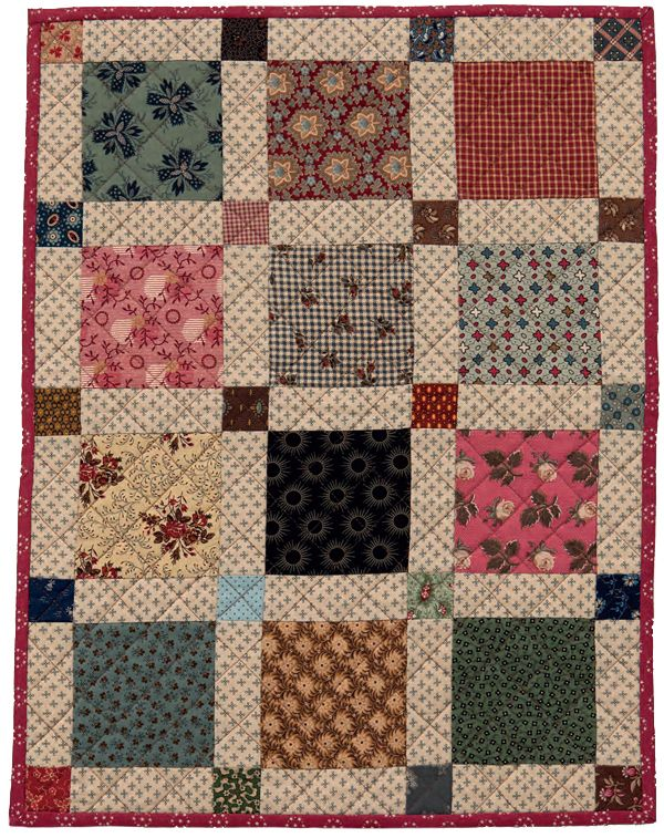 So simple but so pretty! Scrap Squares quilt by Kathleen Tracy - table topper, wall quilt, doll quilt, gift quilt. Tons of possibilities.