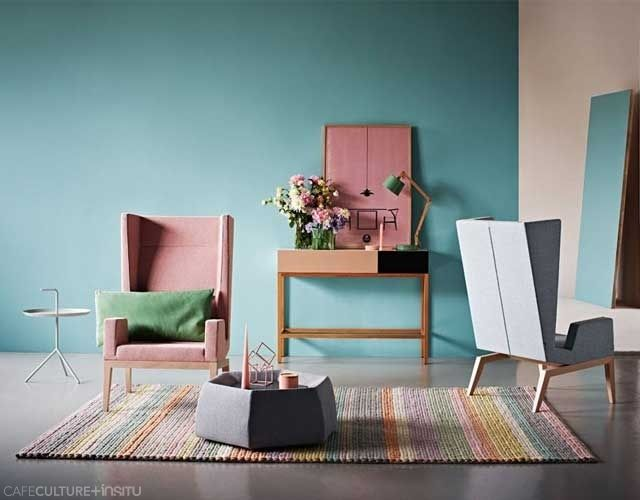 Inside Out Magazine March 2015 - A stunning interior pastel colour scheme showcases Billiani Inka S200 armchairs and a Saba Honey ottoman, which doubles up as a coffee table with internal storage. Styling by Heather Nette King. Photography by Armelle Habib.