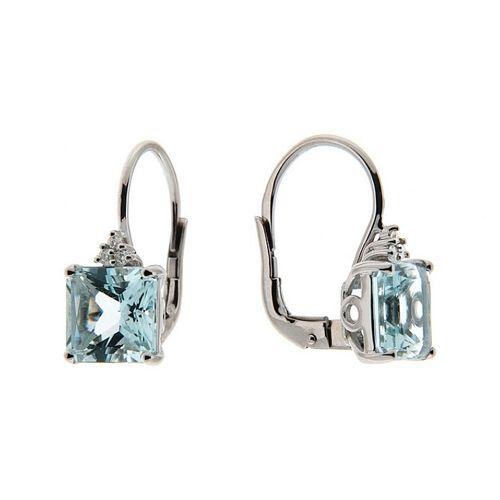 Orecchini in oro bianco con diamanti naturali e acquamarina - OR0512