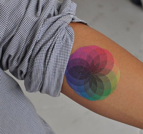 A colorful and beautiful color wheel mandala tattoo that is a perfect choice for designers and artists