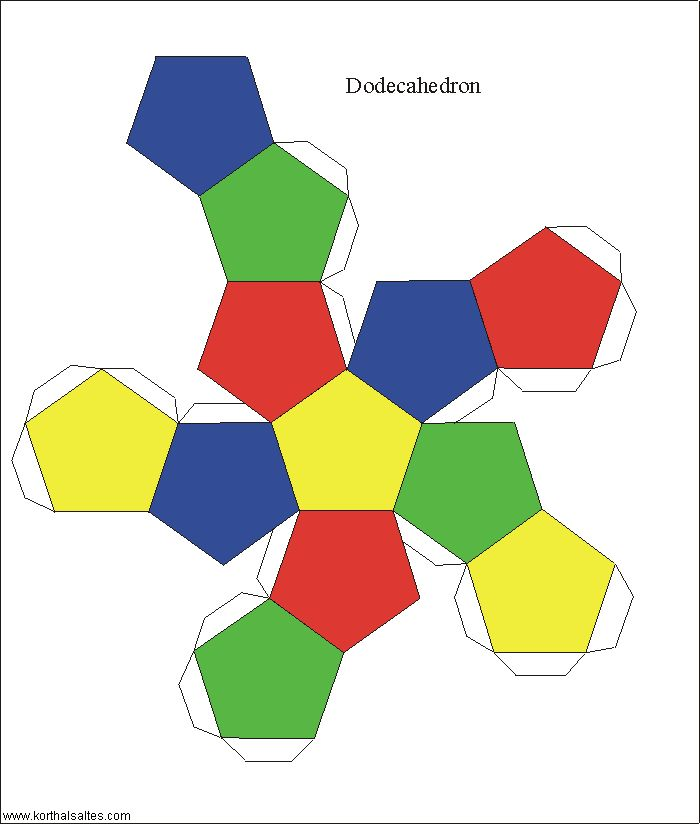 Print and cut shapes at this website. This pin is linked to the dodecahedron page and what would we be without a dodecahedron? Already have a dodecahedron? No Problem! There are many more shapes linked in the sidebar of the website.