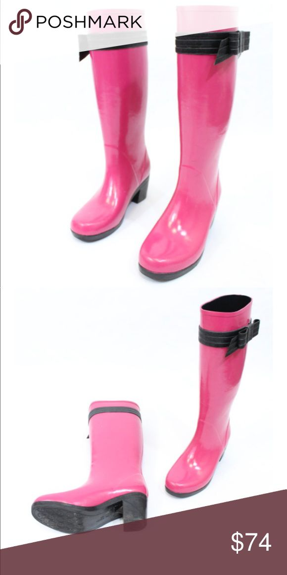 "Kate Spade Bow Wellies Excellent condition - 2"" heel - Bow detail on each side - Rubber - Price firm no trades - buy for less & more pics at www.chicboutiqueconsignments.com! MA's #1 designer consignment boutique! kate spade Shoes Winter & Rain Boots"