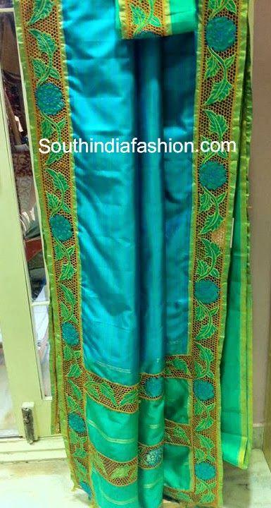 Silk Cut Work Sarees ~ Celebrity Sarees, Designer Sarees, Bridal Sarees, Latest Blouse Designs 2014