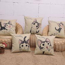 1 pz tessuto di lino stile di estate cuscino divano car home office caso cuscini decorativi lovely cat 43*43 cm copre fh021(China (Mainland))