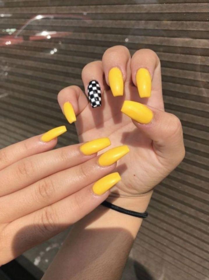 8 Nail Acrylic Yellow Checkered Yellow Nails Design Nail Designs Summer Acrylic Yellow Nail Art