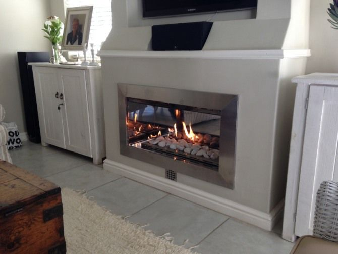 Built in living-room gas fireplace design