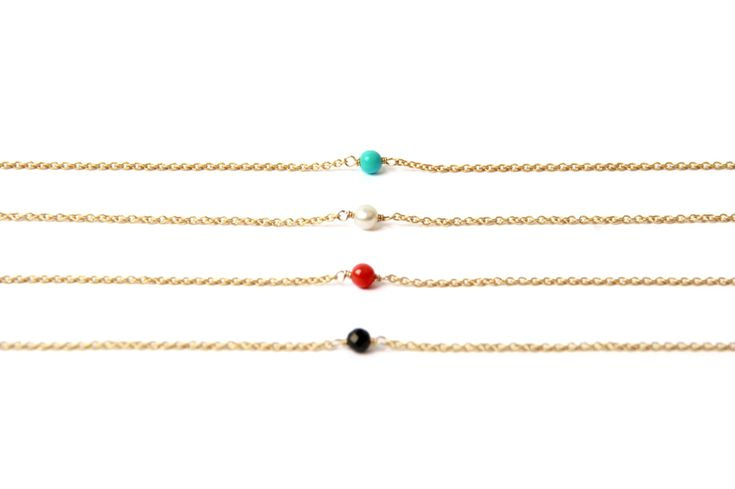 Thin #yellow #gold #bracelet with little #coral #turquoise #blackagate or #pearl _ #minimal #solitaire bracelet _ #maschiogioielli #milano #jewels #shoponline #designjewels #accessories #gift