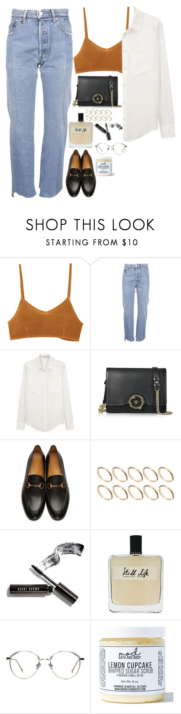 """""""Untitled #1945"""" by samikayy76 ❤ liked on Polyvore featuring RVCA, Vetements, T By Alexander Wang, Roberto Cavalli, Gucci, ASOS, Bobbi Brown Cosmetics, Olfactive Studio and Mod Bath and Body"""