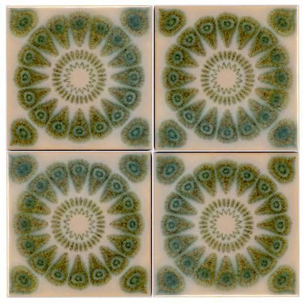 New Mid Century Tiles   Mid Century Modern Flower Tiles For Sale   Antiques.com ...