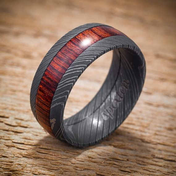 Damascus Stainless Steel Wood Mens Wedding Band By Spexton 75000
