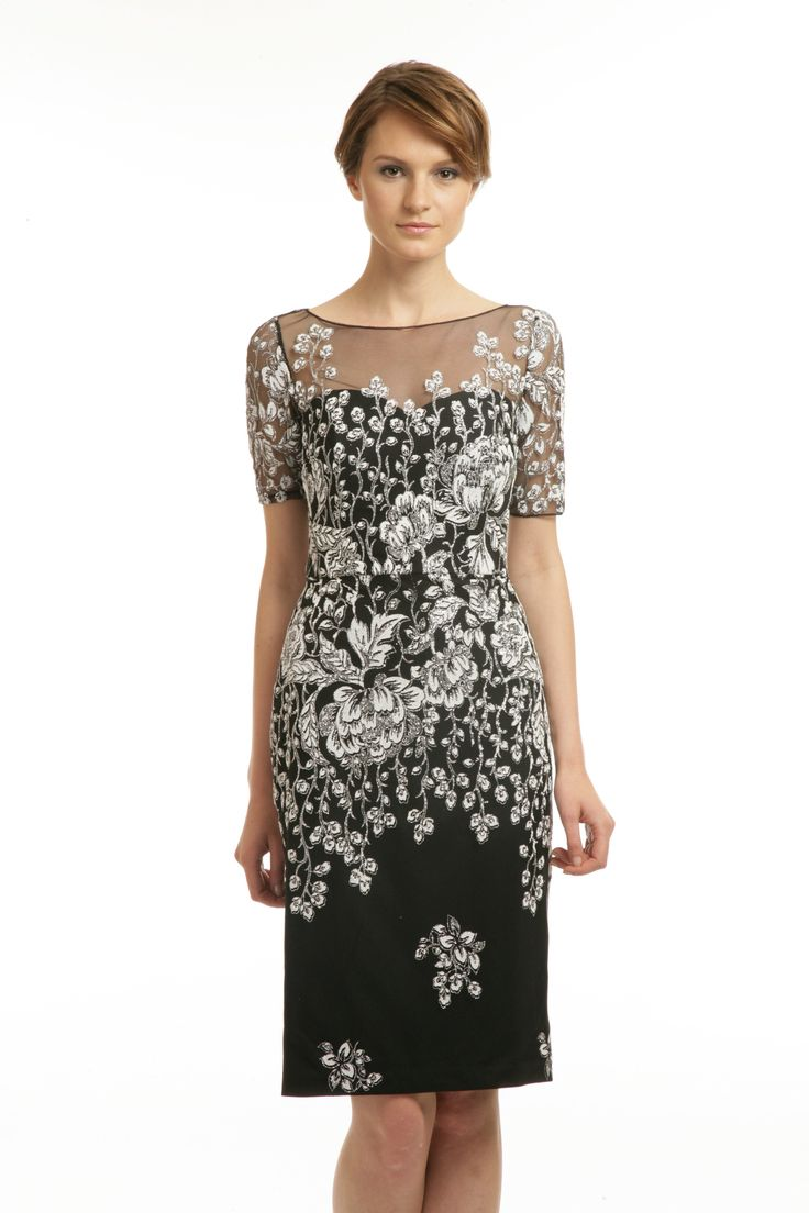 Badgley Mischka Gown Floral black dress